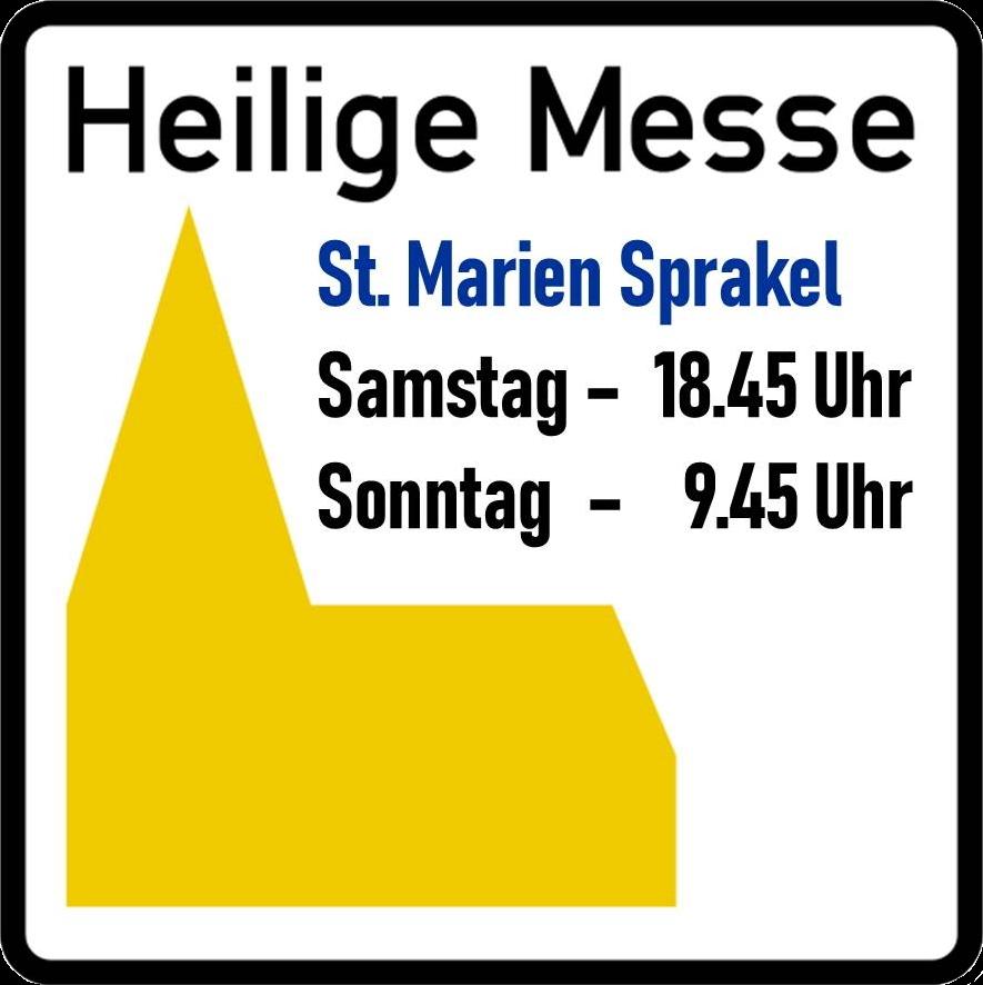 Straßenschild mit Gottesdienstzeiten St. Marien Sprakel